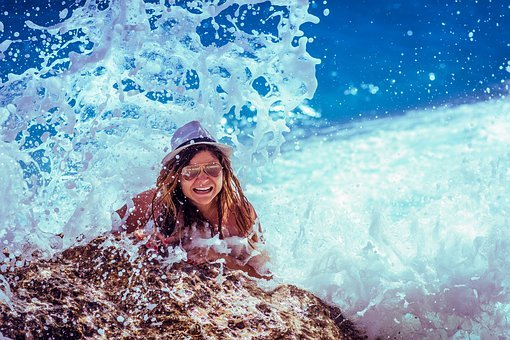 Ocean, Person, Rock, Smiling, Splash, Water, Waves