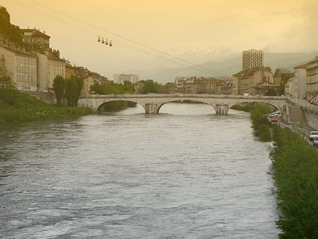 Grenoble, France, Cable-car, Old, French, Arch Bridge