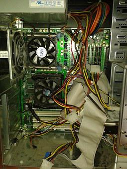 Computer, Maintenance, Pc, Damaged Computer, Cables