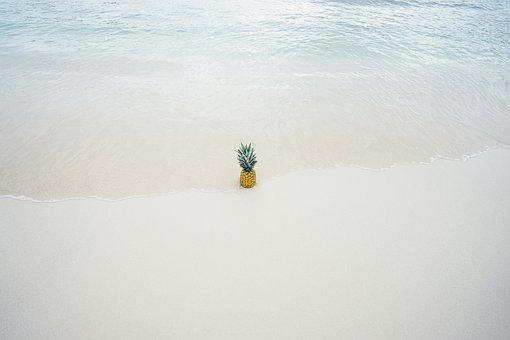 Pineapple, Ripe, Water, Beach, Sea, Coast, Sand, Fruit