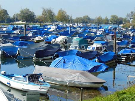 Boats, Port, Lake Constance, Covered