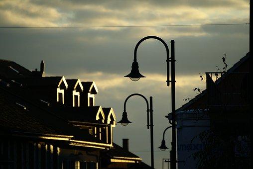Against The Light, Sun, Floor Lamp, Roofs, Sky