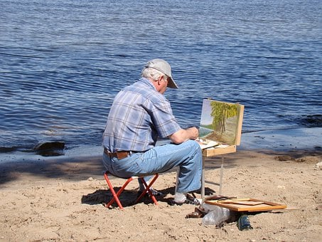 Artist, River, Beach, Sand, Summer, Sun, Etude