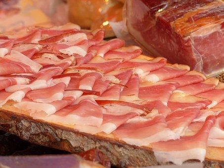 Ham, Sausage, Sale, Stand, Meat, Market, Meat Market