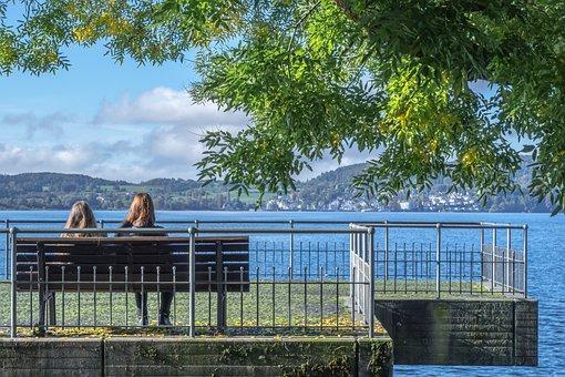 Lake Constance, Lake, Sea, Beach, Water, Bench, View