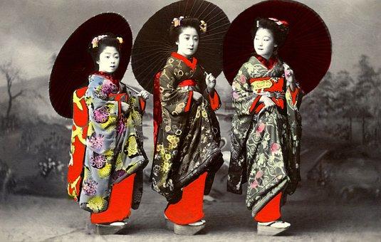 Geisha, Retro, Vintage, Japanese, Asia, Umbrellas