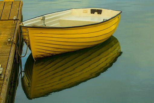 Boat, Water, Yellow, Bay, Keyhaven, Dinghy
