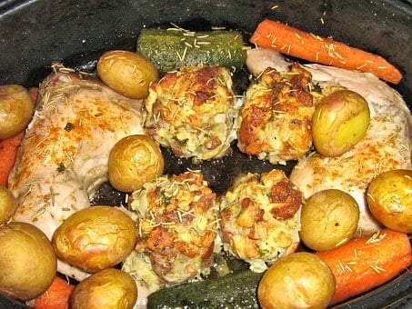 Baked Chicken, Potatoes, Carrots, Zucchini, Bread Cubes
