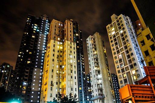Hong Kong, Night, City, Cityscape, Building