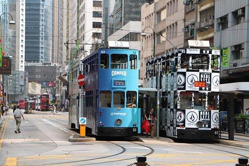 Hong Kong, Tram, Ding Ding, Asia, Tramline, Street