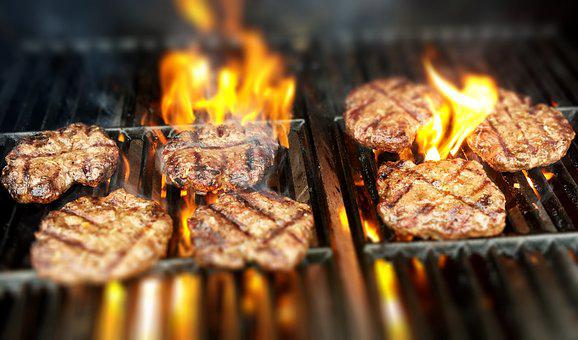 Burgers, Fire, Grill, Grilling