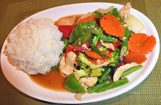 Rice, Thai Basil Chicken, Vegetables, Food