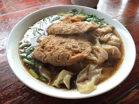 Ravioli Face, Vegetarian Chicken, Noodles, Chinese