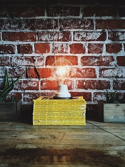 Books, Bricks, Lamp, Light, Light Bulb, Pattern, Rustic