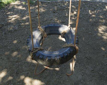 Swing, Auto Tires, Play, Kindergarten