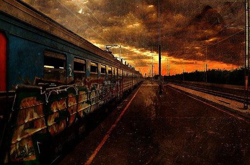 Train, Apocalypse, Dawn, End, Abandoned, City, Post