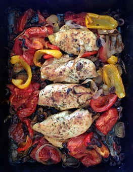 Chicken, Oven, Peppers, Food, Poultry, Cooking, Roast