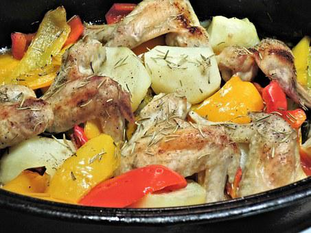 Roasted Pepper Stew, Chicken Wings, Potatoes, Rosemary