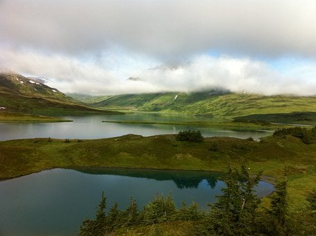 Alaska, Lost Lake, Water, Mountains, Clouds, Sky
