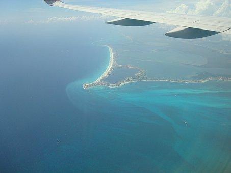 Flight, Cancun, Air, Vision, Plane, Wing, Costa, Ocean