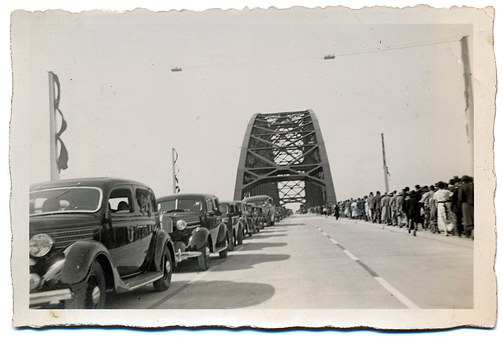 Black White, Bridge, Historical, Arnhem, Line Of Cars