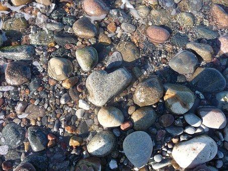 Pebbles, Heart Stone, Baltic Sea, Water, Flint, Pebble