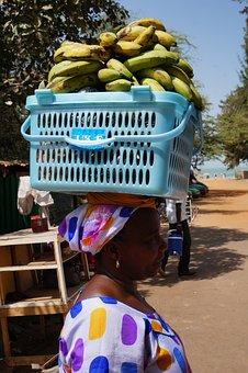 Fruit, Banana, Black Women, Basket, Head, Carry
