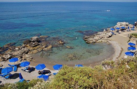 Greece, Rodos, Kallithea, Bay, Beach, Lounge Chairs