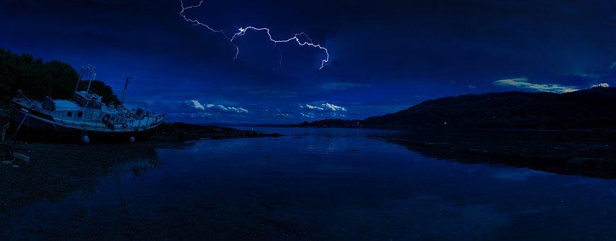 Scotland, Lightning, Beach, Isle Of Mull, Night, Stars