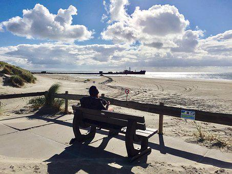 Sky, Clouds, Ameland, Netherlands, North Sea, Beach