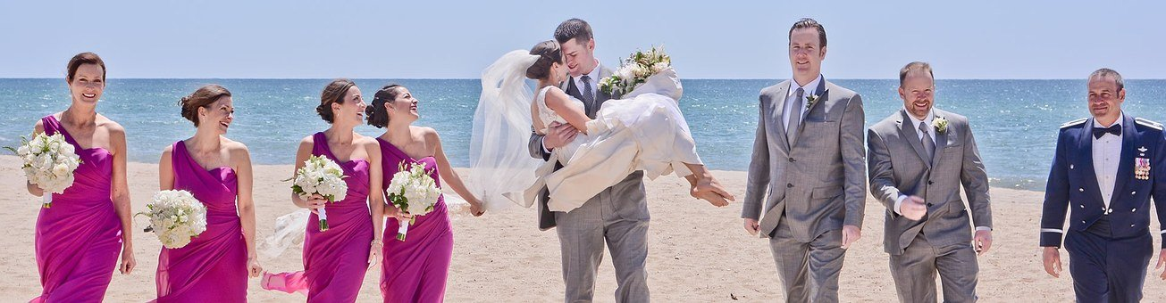 Wedding, Beach, Bride, Groom, Frieds, Bridesmaids