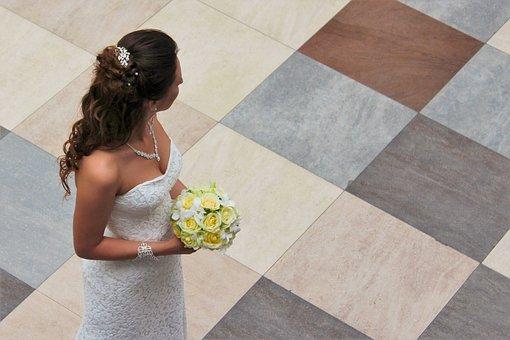 Bride, Bouquet, Wedding, Girl, Just Married, Dress
