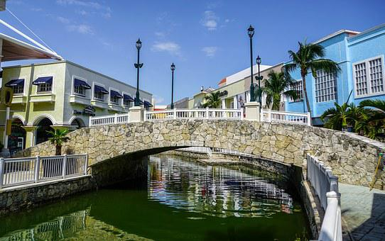 Cancun, Mexico, Bridge, Canal, Downtown, Tropical