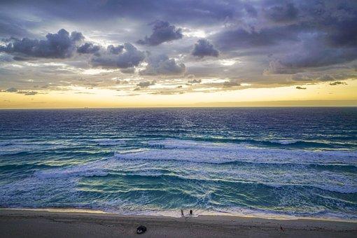 Cancun, Mexico, Beach, Sunrise, Person, People, Clouds