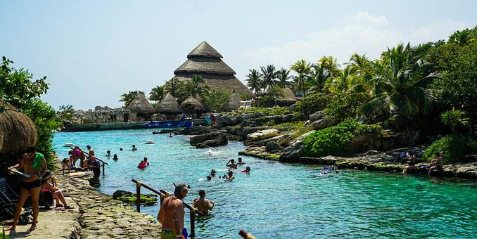Xcaret, Cancun, Mexico, Lagoon, Hut, People, Person