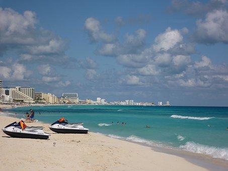 Motorcycle Water, Cancun, Beach, Sea, Blue, Landscape