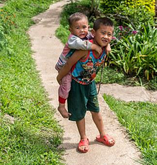 Chiang Mai, People, Person, Boys, Carrying Baby, Path