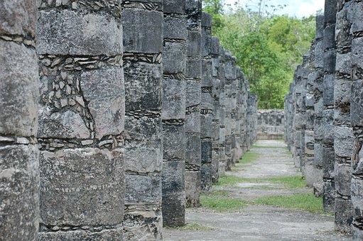 Cancun, Travel, Maya, Ruins, Corridor, Columns