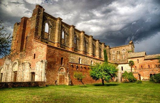 Ruin, Abbey, Hdr, Sun, Dark, Weather, Thunder Storm
