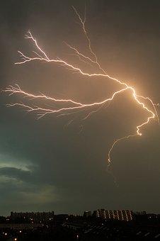 Lightening, Struck, Bolt, Weather, Thunder, Dark