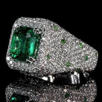 Emerald, Ring, Color Po, Diamond Set