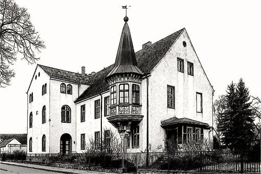 Drawing, Architecture, House, Bay Window, Building