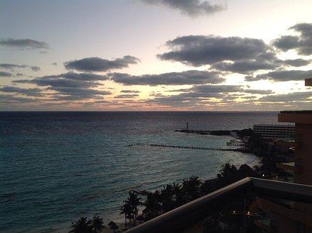 Sunset, Cancun, Fiesta Americana, Dusk, Wave