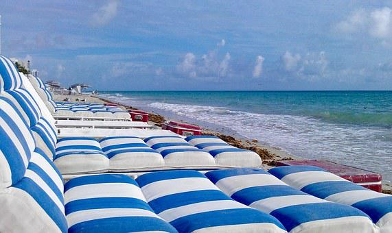 Beach, Lounge Chairs, Sunbeds, Blue, Florida