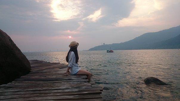 Wood, Sea, Beach, Girl, Ocean, Sand, Tourism, Blue