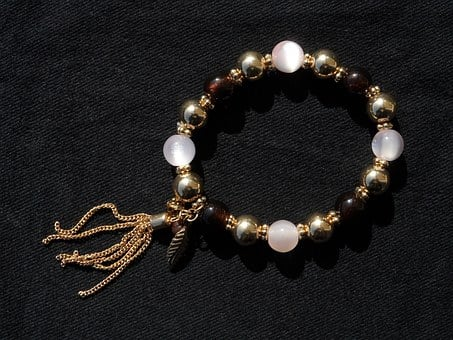 Bracelet, Gold, Beads, Jewellery, Brown, White