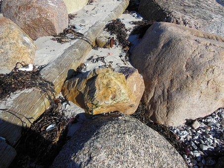 Beach, Stone, Granite, Flint, Brown Flint, Wood Pole