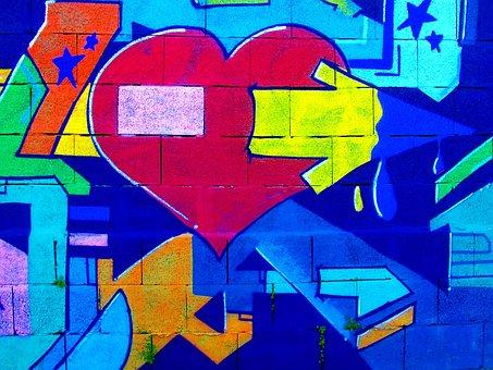 Graffiti, Heart, Love, Symbol, Romantic, Grunge