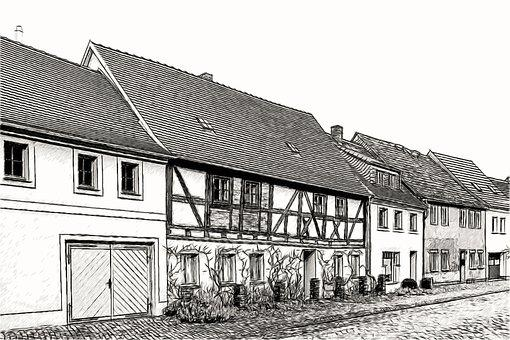 Drawing, Sketch, Architecture, Homes, Fachwerkhaus