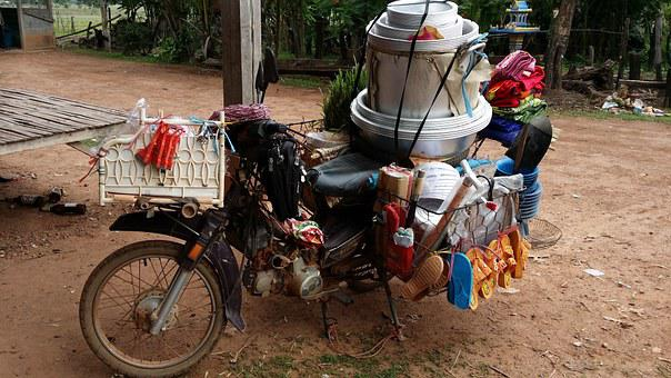 Laos, Motorcycle, Asia, Transport, Southeast, Motorbike